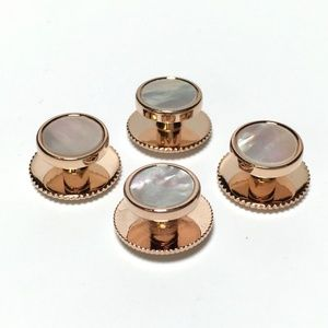 Other - 4 Rose Gold and Mother of Pearl Tuxedo Shirt Studs